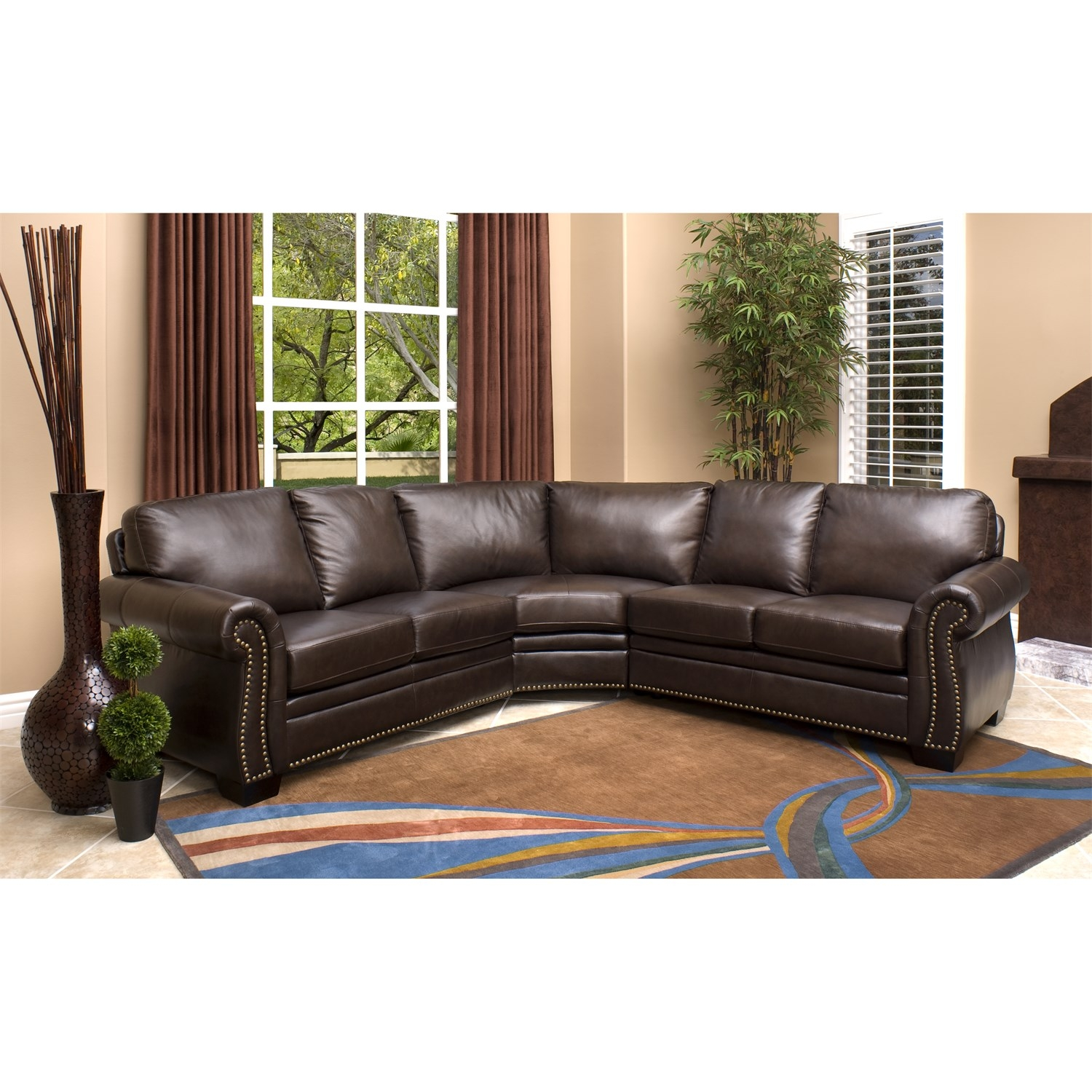 Abson Living Ci N410 Brn Oxford Italian Leather Sectional Sofa Inside Abbyson Sectional Sofa (Image 1 of 15)