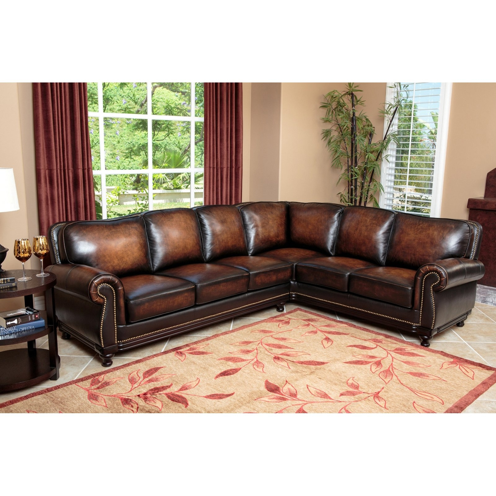 Abson Nizza Hand Rubbed Leather Sectional Sofa Brown Throughout Abbyson Sectional Sofa (Image 5 of 15)