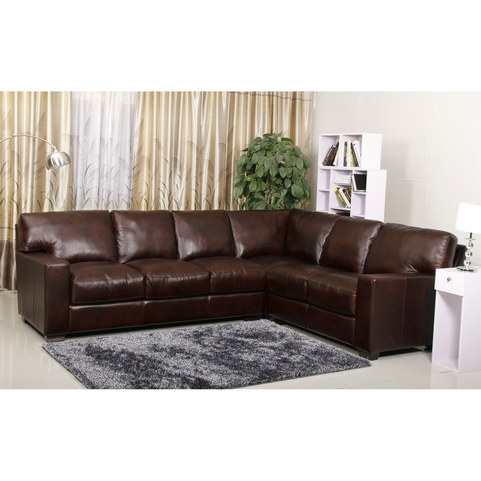 Abson Vana Premium Hand Rubbed Leather Sectional Sofa Two Tone Regarding Abbyson  Sectional Sofa (Image