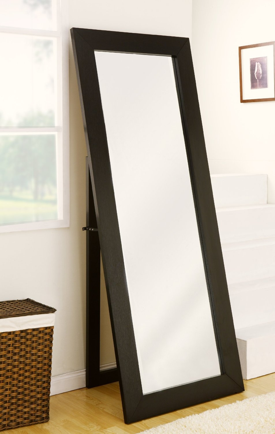 Accessories Engaging Black And White Bathroom Decoration Using For Free Standing Oval Mirror (View 10 of 15)