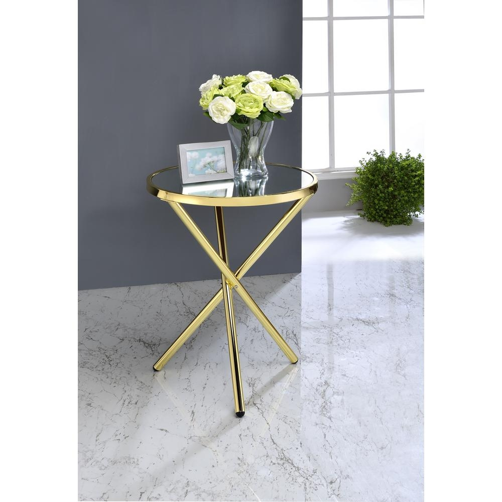 Acme Furniture Lajita Side Table Mirror And Gold 81817 The Home Intended For Gold Table Mirror (Image 2 of 15)