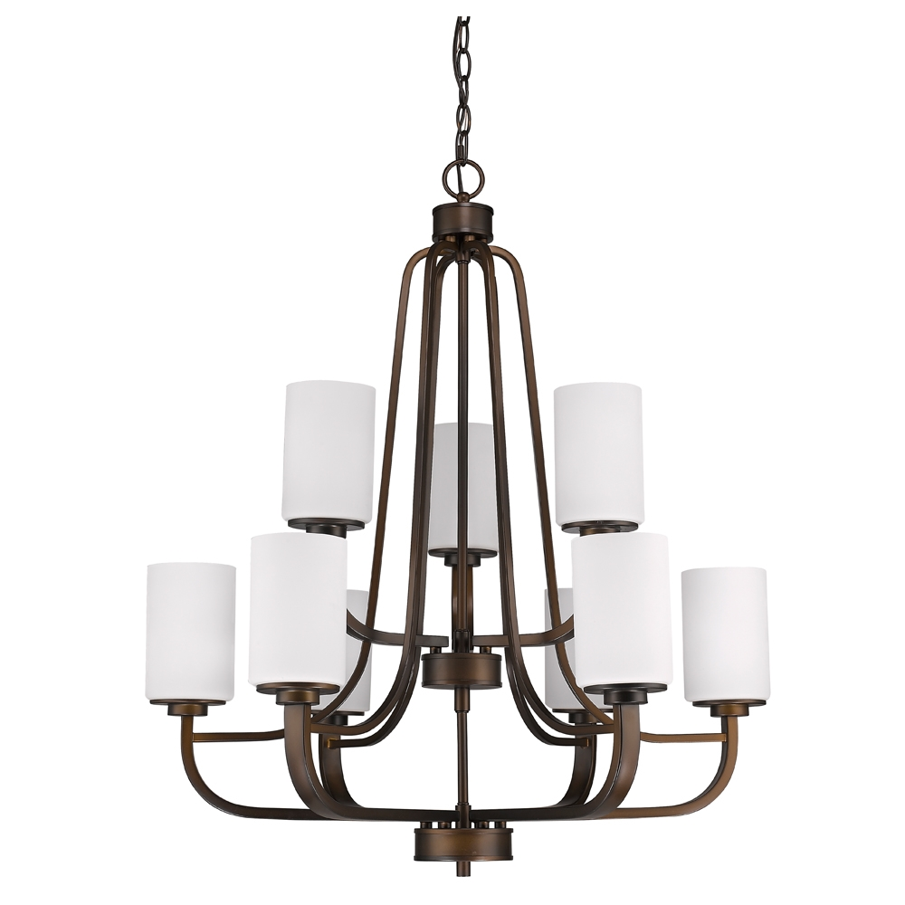Addison Oil Rubbed Bronze Glass Shade Chandelier 28wx32h Intended For Bronze Modern Chandelier (Image 1 of 15)