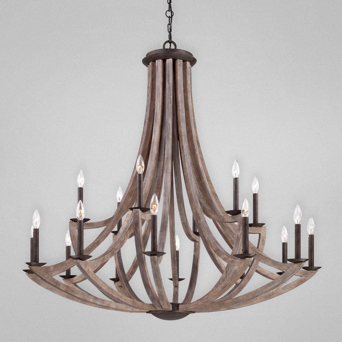 Aden Star Ltd Llc Dba 1020 Decor Arcata Bronze Iron And Wood 18 In Large Iron Chandeliers (Image 1 of 15)