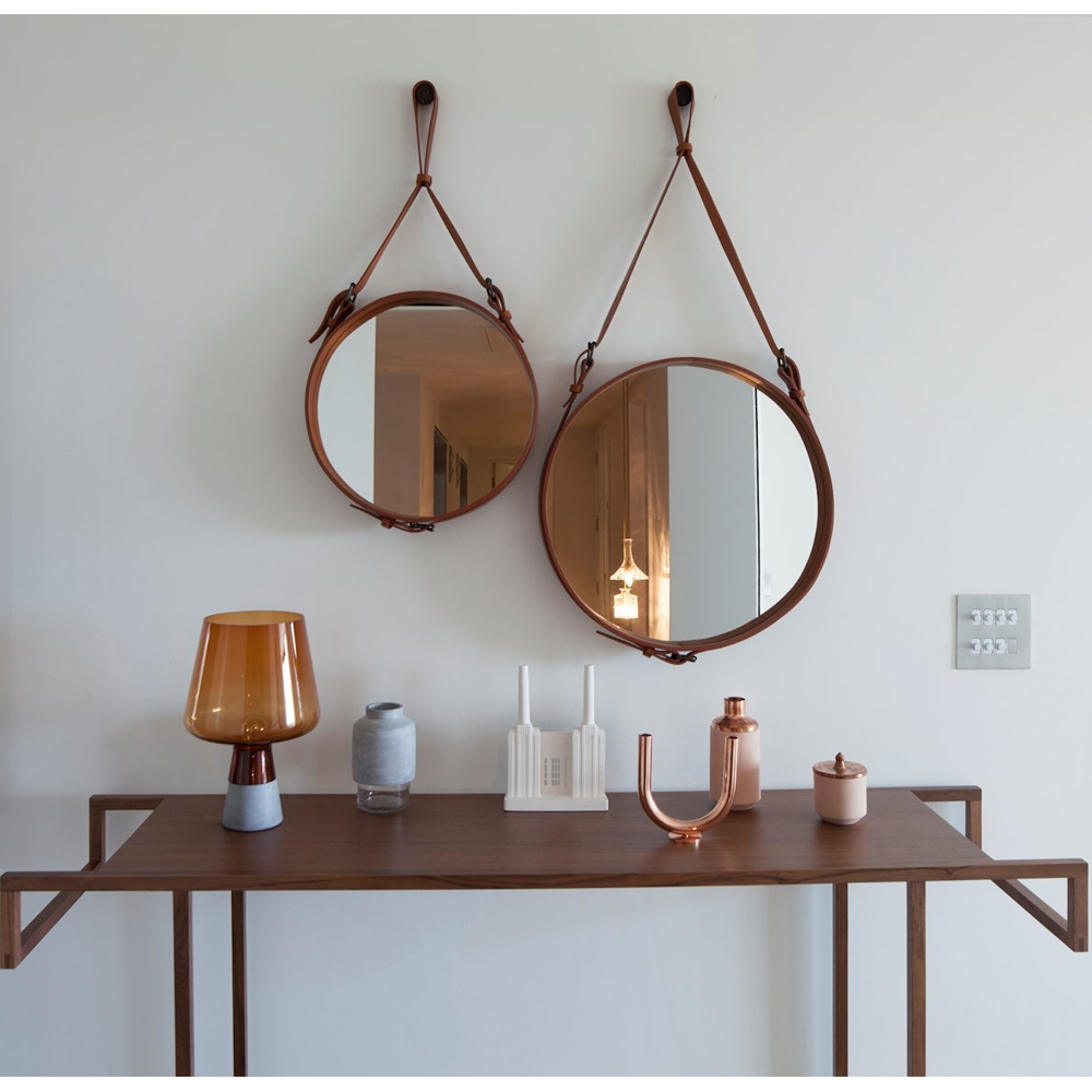 Adnet Round Mirror Jacques Adnet Gubi Suite Ny For Leather Round Mirror (Image 1 of 15)