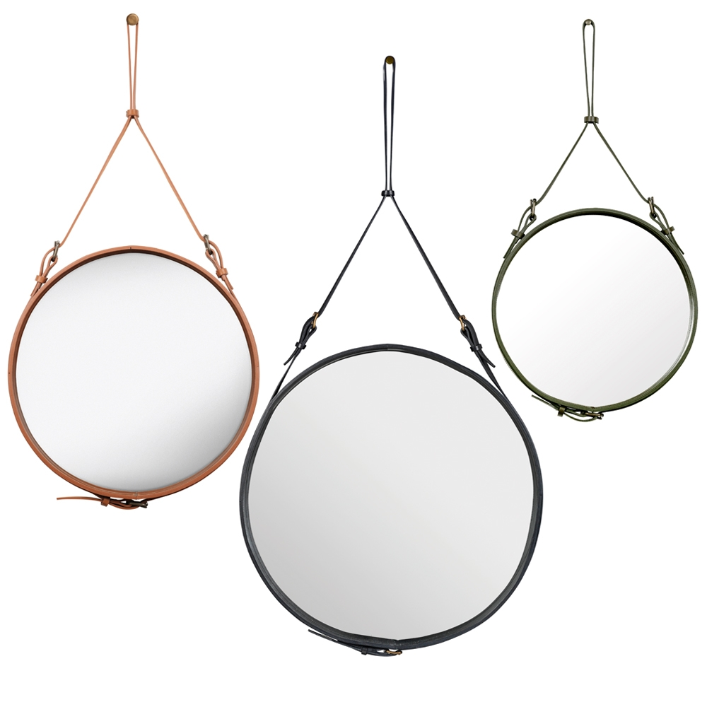 Adnet Round Mirror Jacques Adnet Gubi Suite Ny Pertaining To Round Leather Mirror (Image 1 of 15)