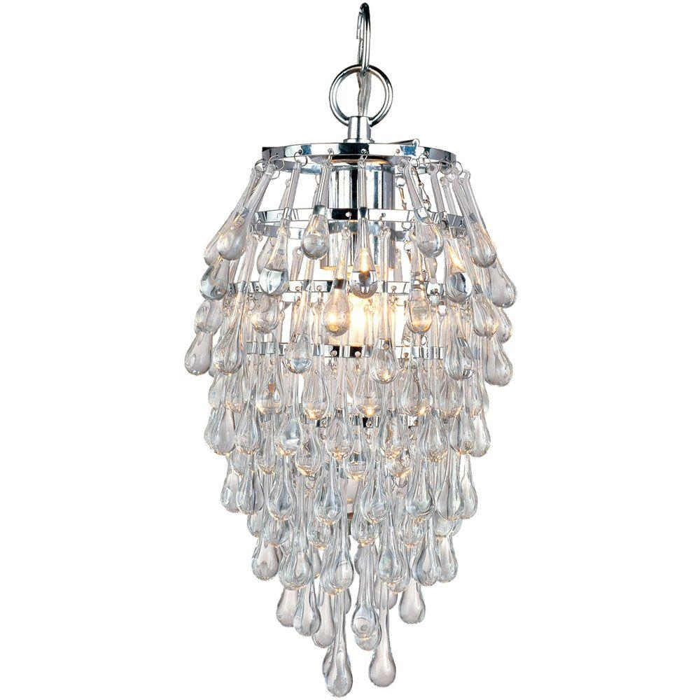 Af Lighting Crystal Teardrop 1 Light Chrome Mini Chandelier With With Regard To Chrome And Glass Chandelier (Image 3 of 15)