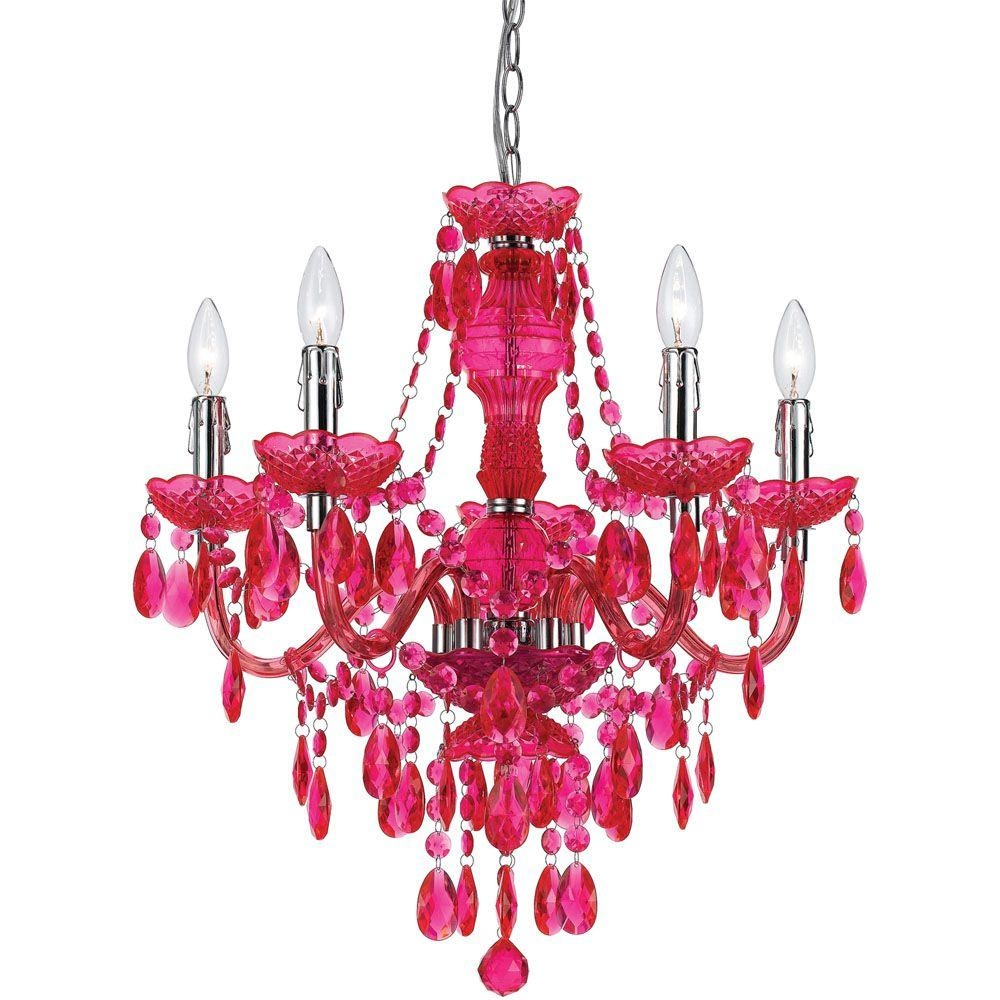 Af Lighting Fulton 5 Light Pink Chandelier 8524 5h The Home Depot With Regard To Red Chandeliers (Image 2 of 15)
