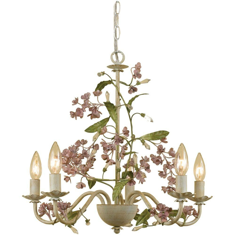 Af Lighting Grace 5 Light Antique Cream Chandelier With Floral Intended For Cream Chandelier Lights (Image 3 of 15)
