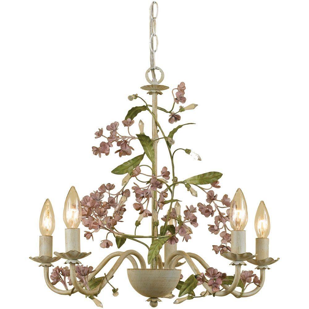 Af Lighting Grace 5 Light Antique Cream Chandelier With Floral Intended For Cream Chandelier Lights (View 5 of 15)