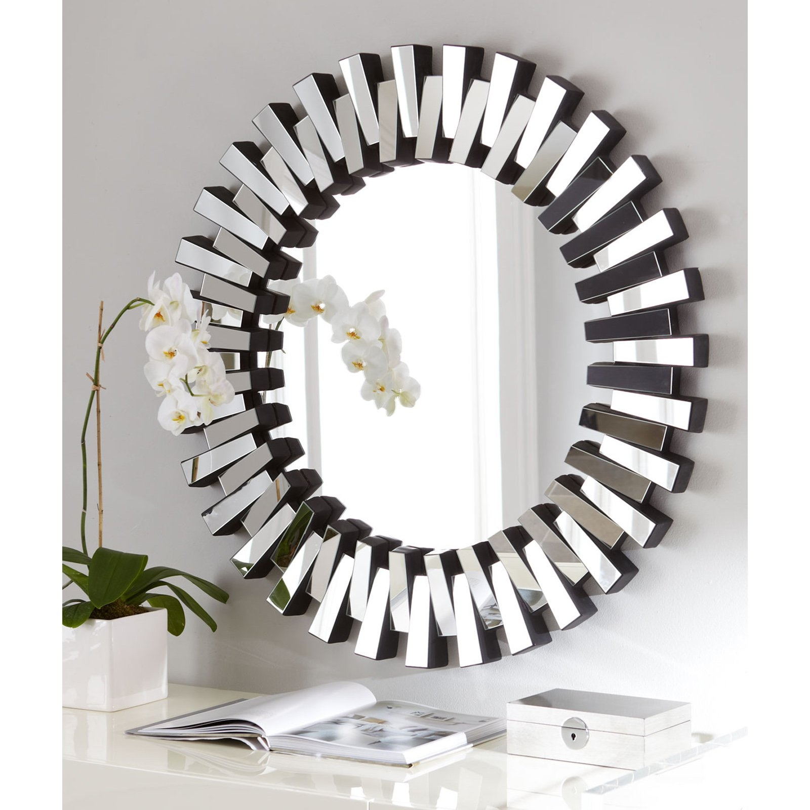 Afina Modern Luxe Round Wall Mirror 36 In Mirrors At Hayneedle Inside Mirror Circles For Walls (Image 1 of 15)
