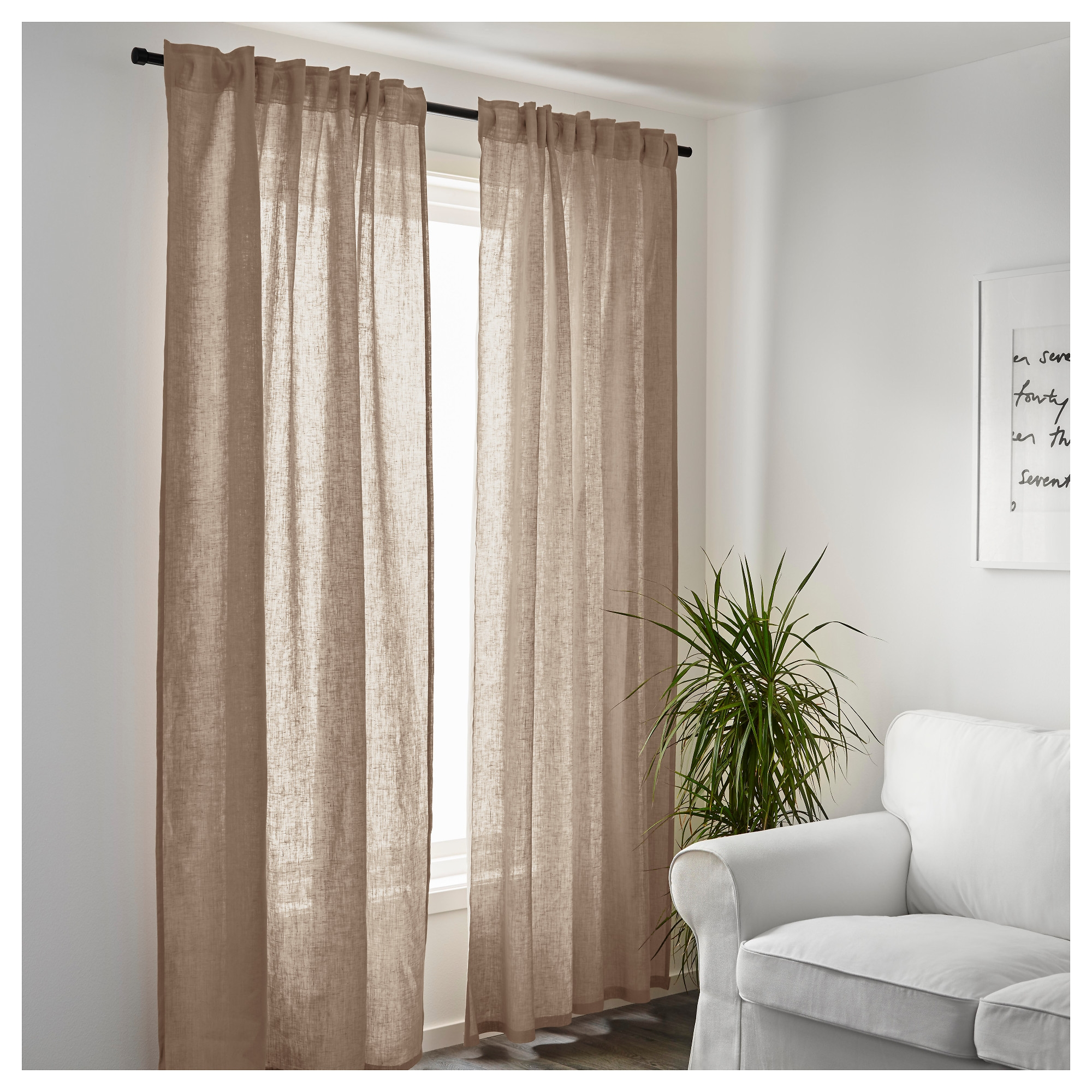 Aina Curtains 1 Pair Ikea In Natural Linen Drapes (View 3 of 15)