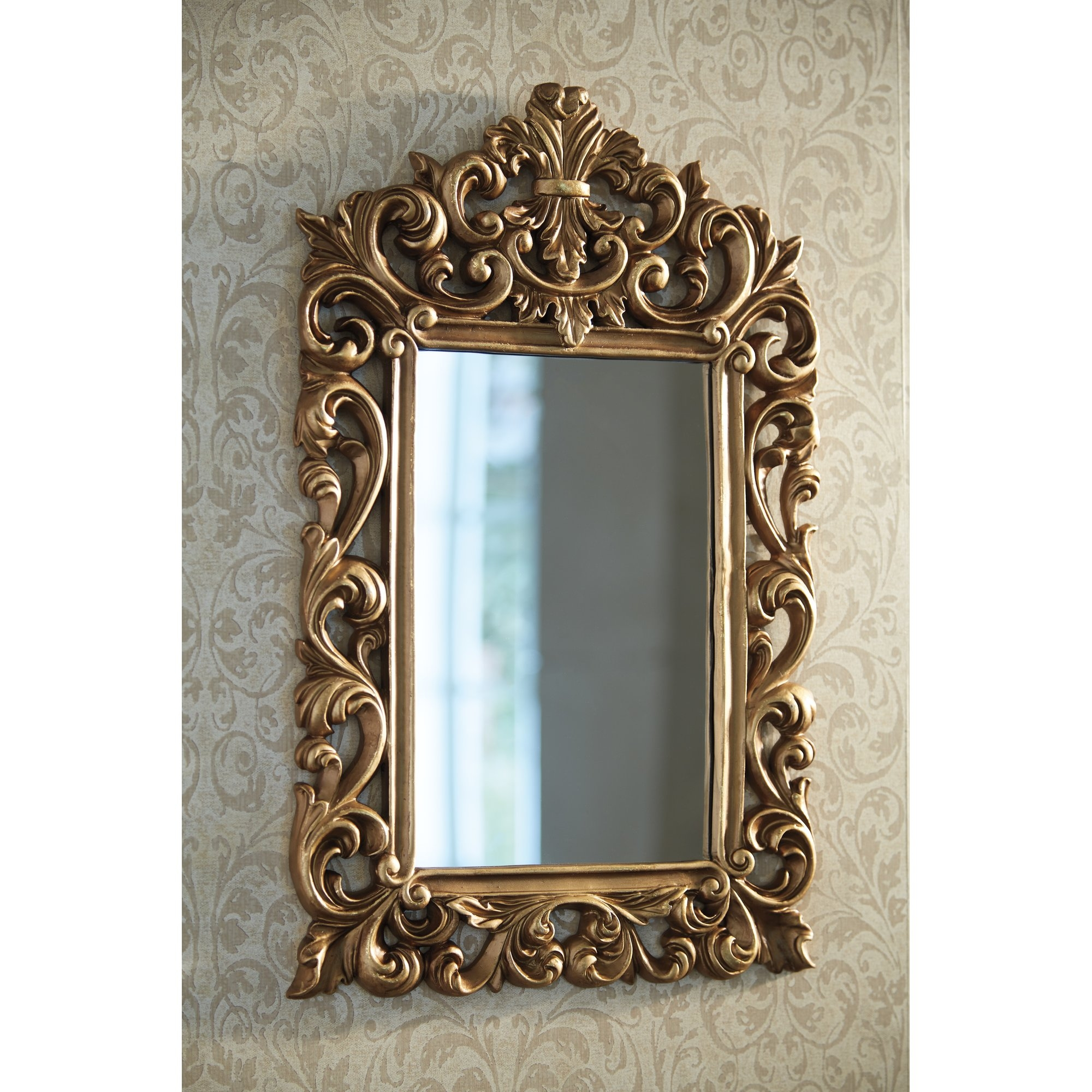 Alcott Hill Antique Gold Wall Mirror Reviews Wayfair For Long Gold Mirror (View 11 of 15)