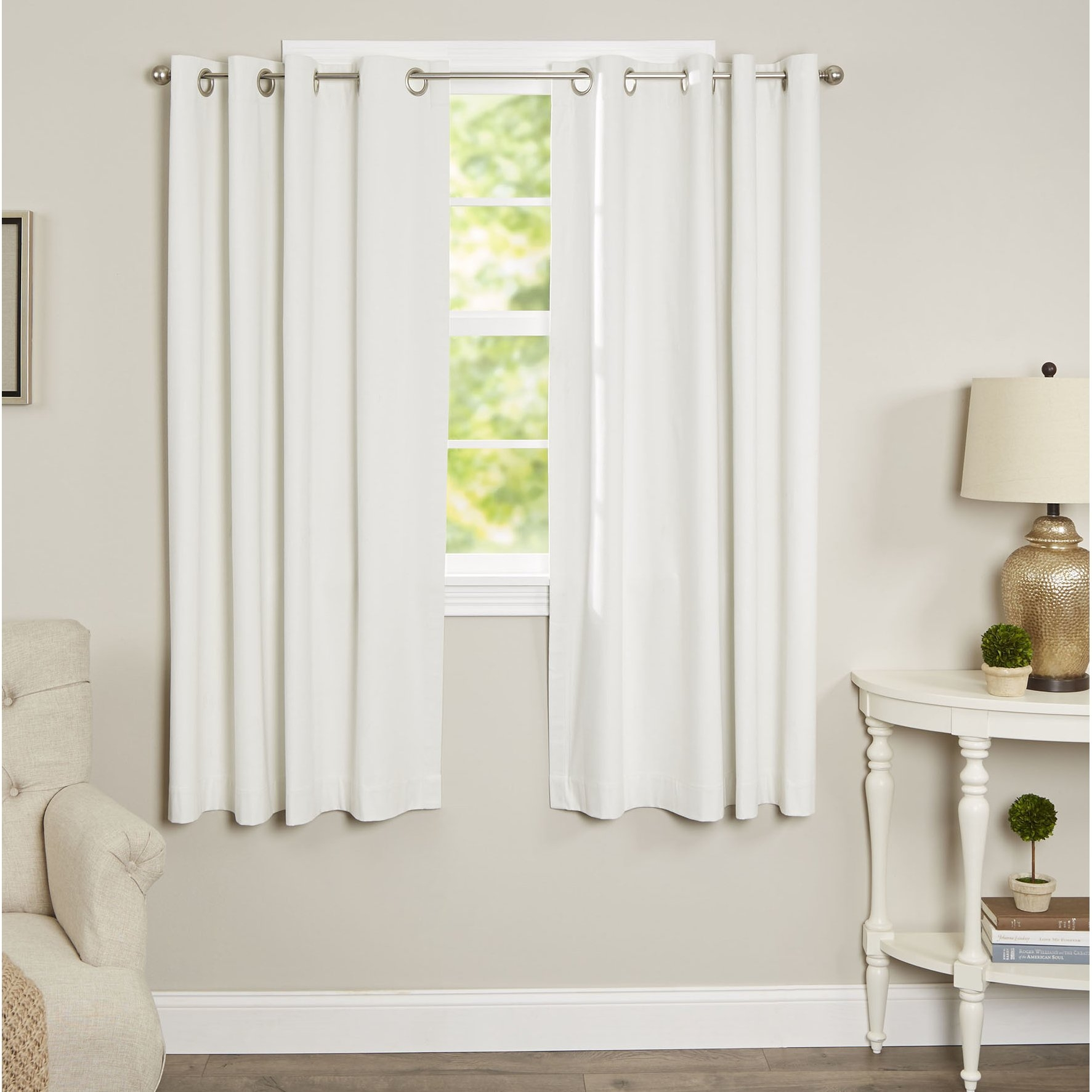 Alcott Hill Morrison Cotton Solid Blackout Thermal Grommet Single Pertaining To White Thermal Curtains (Image 1 of 15)