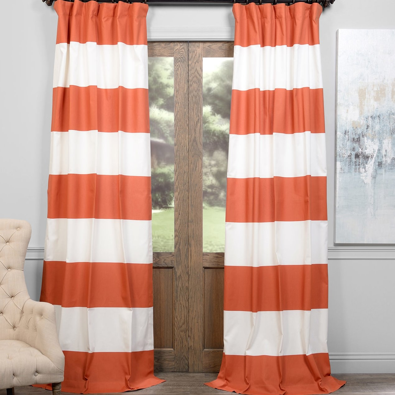 Alcott Hill Wilkesville Horizontal Striped Semi Sheer Thermal Rod In Striped Thermal Curtains (Image 1 of 15)