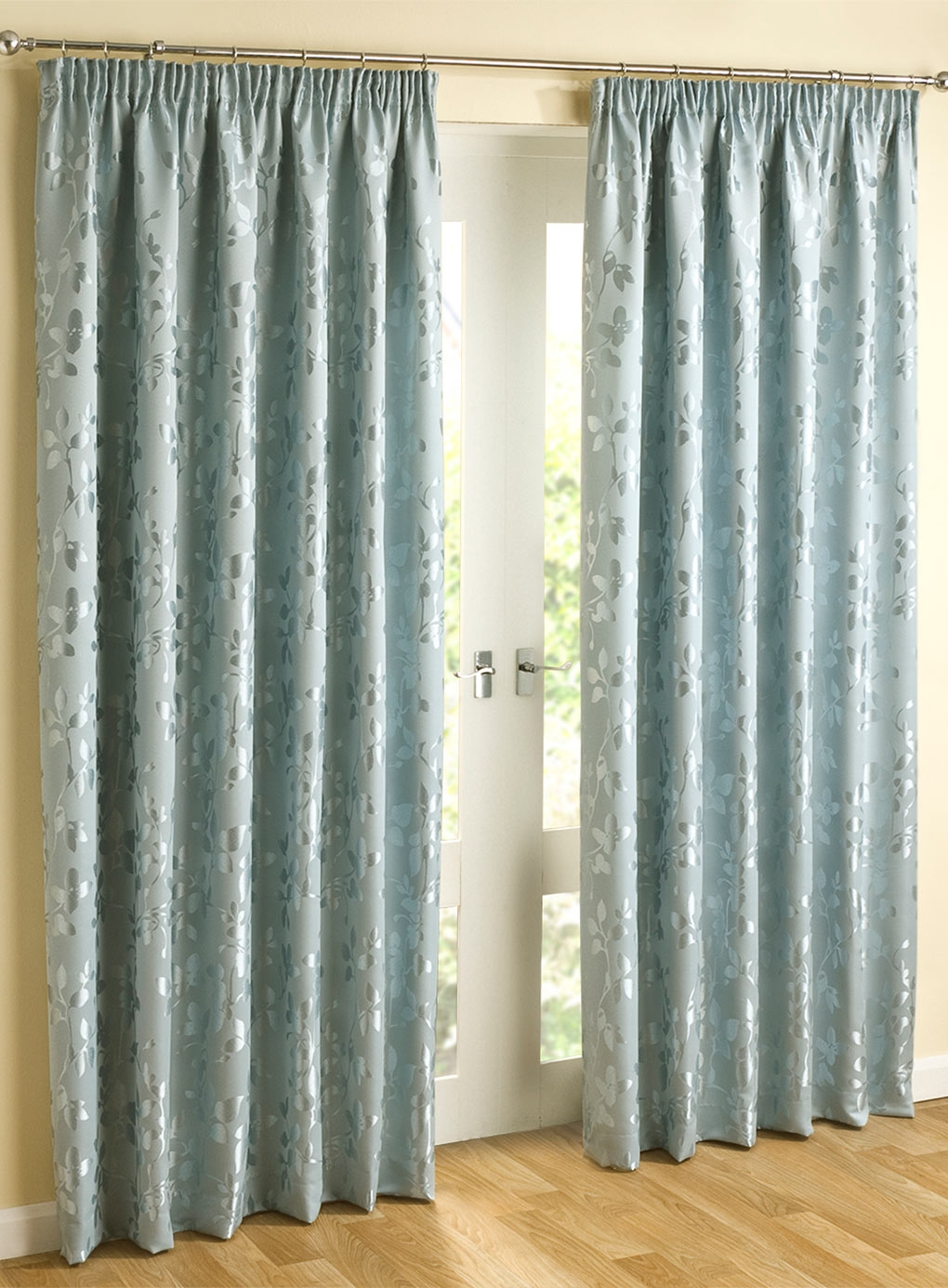 Alice Pencil Pleat Curtain Duck Egg Curtains Accessories With Pencil Pleat Curtains (Image 1 of 15)