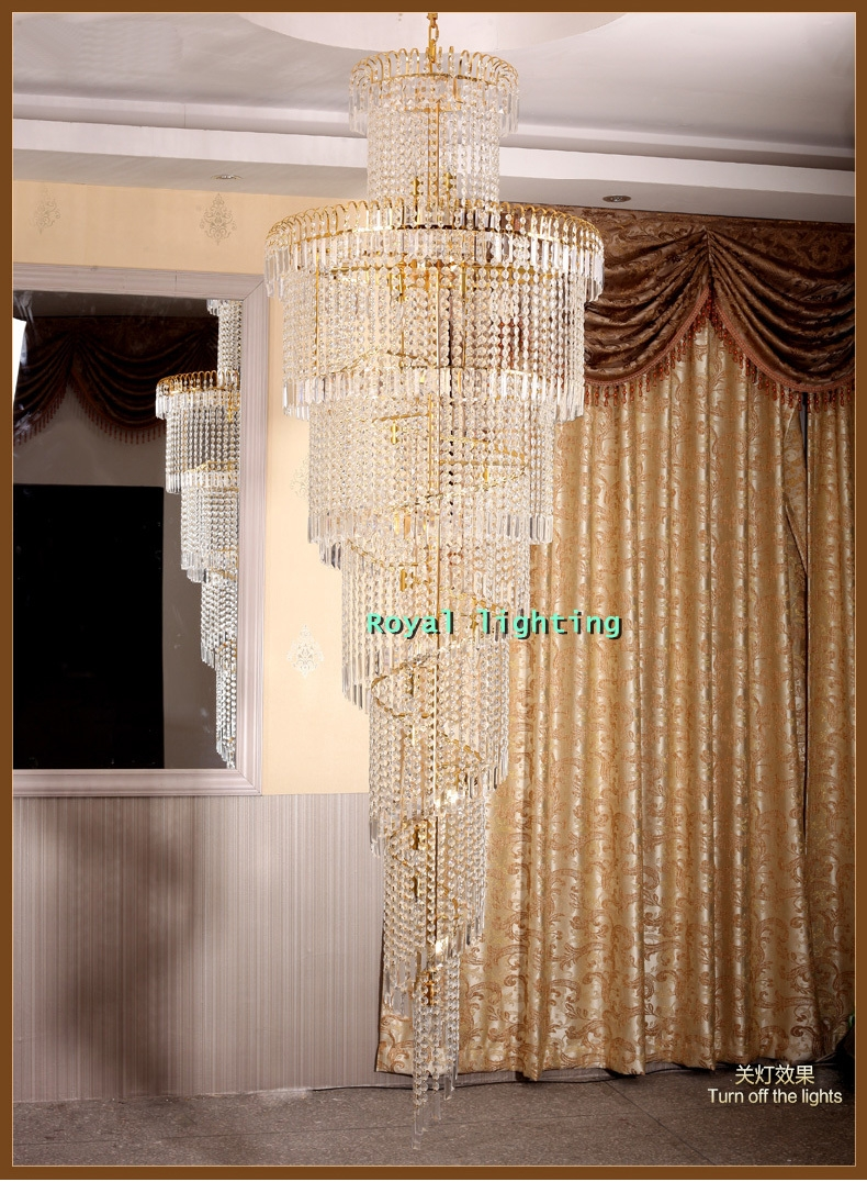 Aliexpress Buy Big Stairway Chandelier Long Crystal Led Inside Stairway Chandeliers (Image 1 of 15)