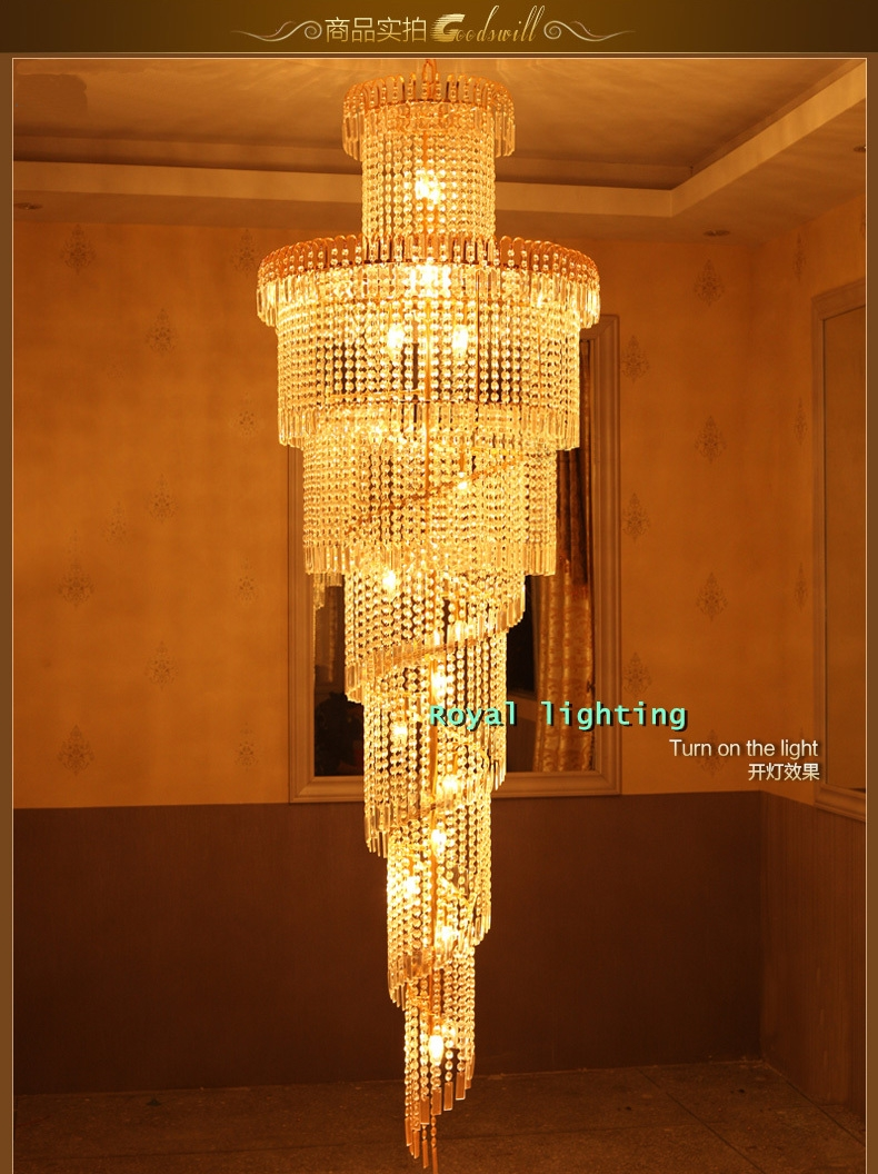Aliexpress Buy Big Stairway Chandelier Long Crystal Led Regarding Stairway Chandeliers (Image 2 of 15)