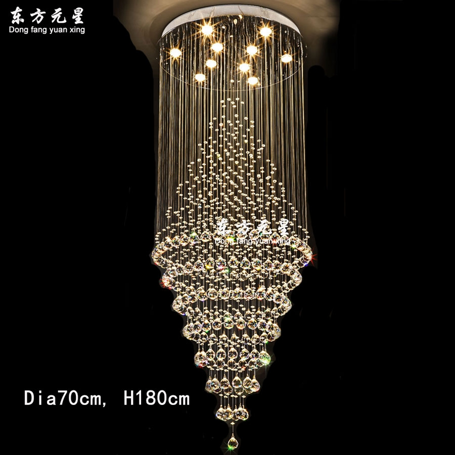 Aliexpress Buy Crystal Chandelier Led Lamp Stair Light Within Long Chandelier Lighting (Image 4 of 15)