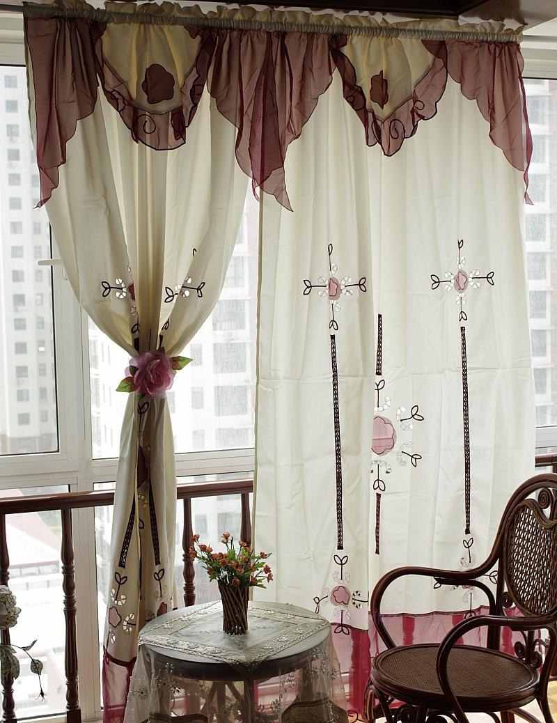 Aliexpress Buy Curtains Aesthetic White Embroidery Slub Yarn With Regard To Curtain Head (Image 1 of 15)