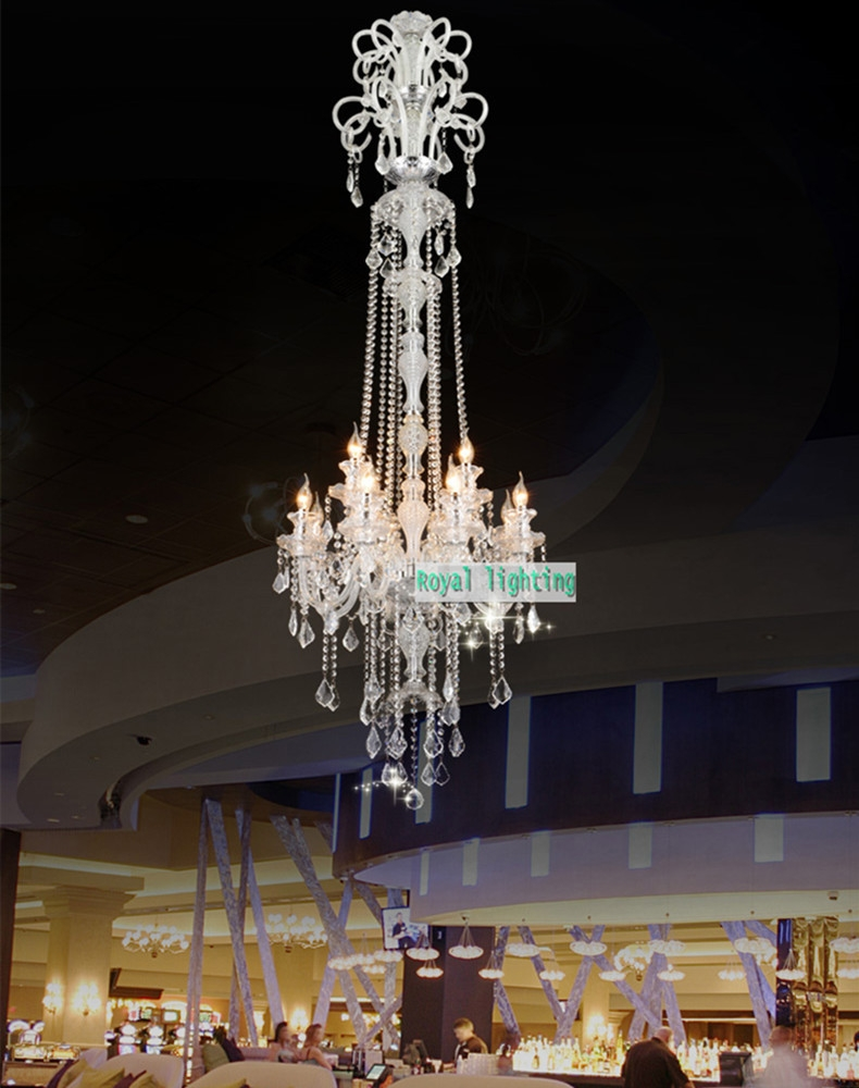 Aliexpress Buy Duplex Building Large Crystal Chandelier Led Throughout Long Hanging Chandeliers (Image 2 of 15)