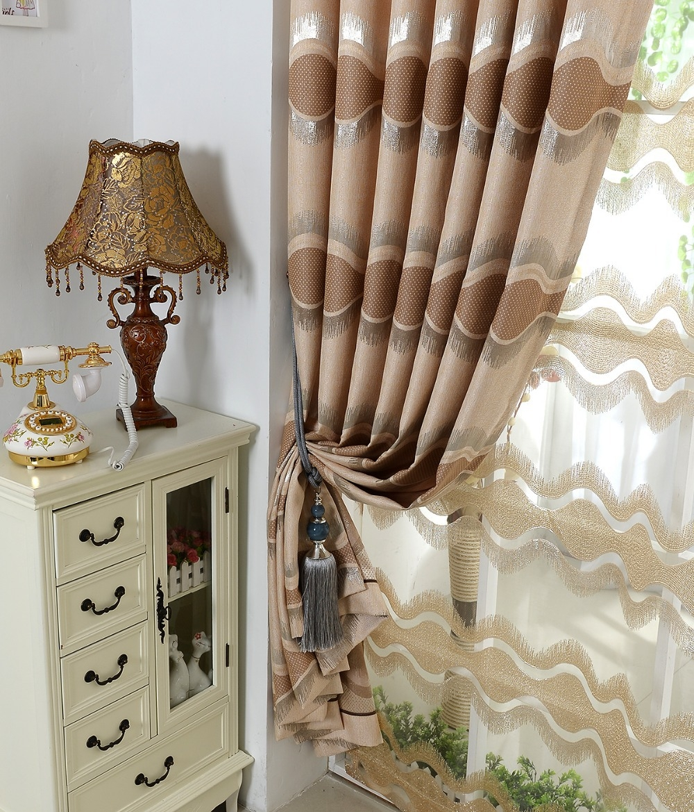 Aliexpress Buy European High Grade Thick Brown Curtains Pertaining To Curtain Head (Image 3 of 15)