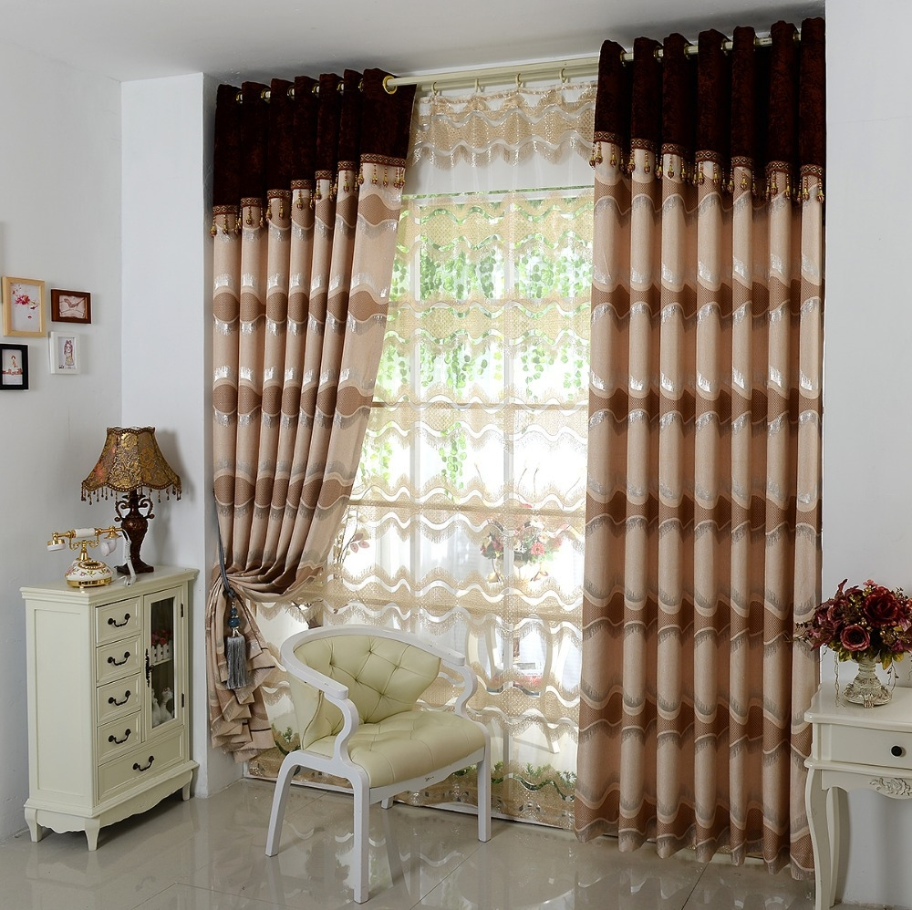 Aliexpress Buy European High Grade Thick Brown Curtains Throughout Curtain Head (Image 4 of 15)