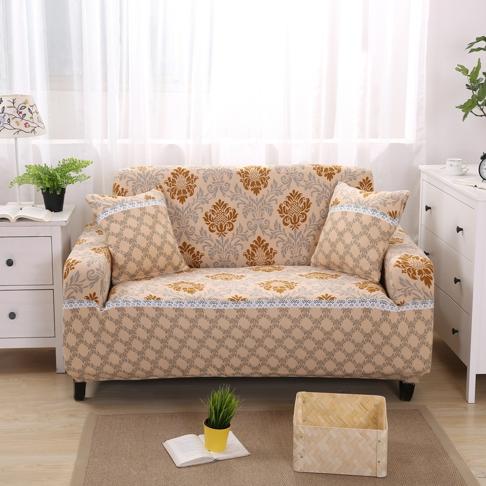 Aliexpress Buy Gold Pattern Modern Sofa Covers For 1 4 Seat Inside Contemporary Sofa Slipcovers (Image 2 of 15)