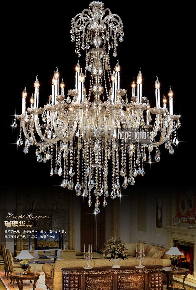 Aliexpress Buy Luxurious European Style Lighting Large With Large Crystal Chandeliers (Image 2 of 15)