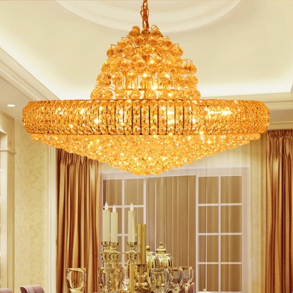 Aliexpress Buy Modern Gold K9 Crystal Chandelier Big Round Regarding Big Chandeliers (Image 1 of 15)