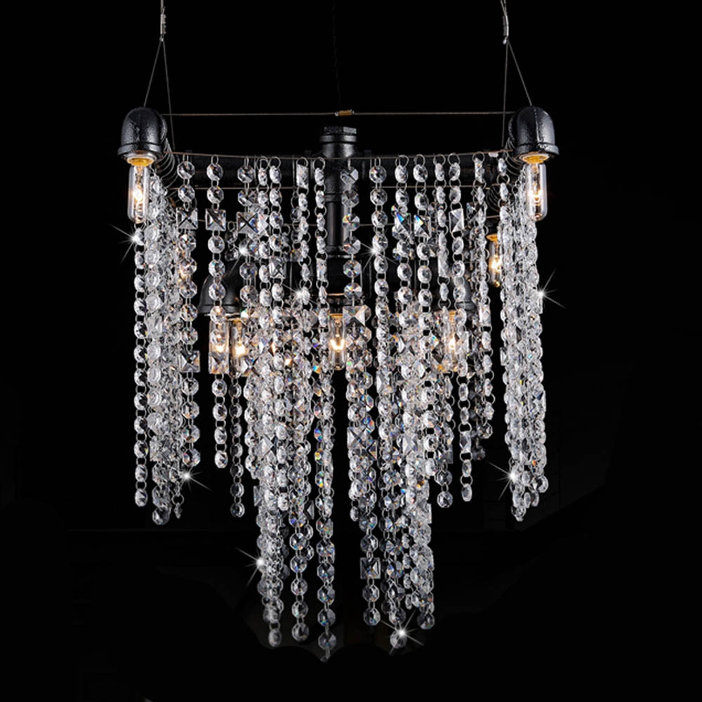 Aliexpress Buy Noble Luxurious Iron Art Crystal Pipe Pertaining To Crystal Waterfall Chandelier (Image 1 of 15)