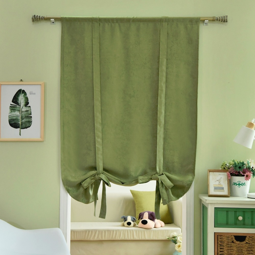 Aliexpress Buy Roman Blinds Short Kitchen Curtains Blackout Within Green Roman Blinds (Image 1 of 15)