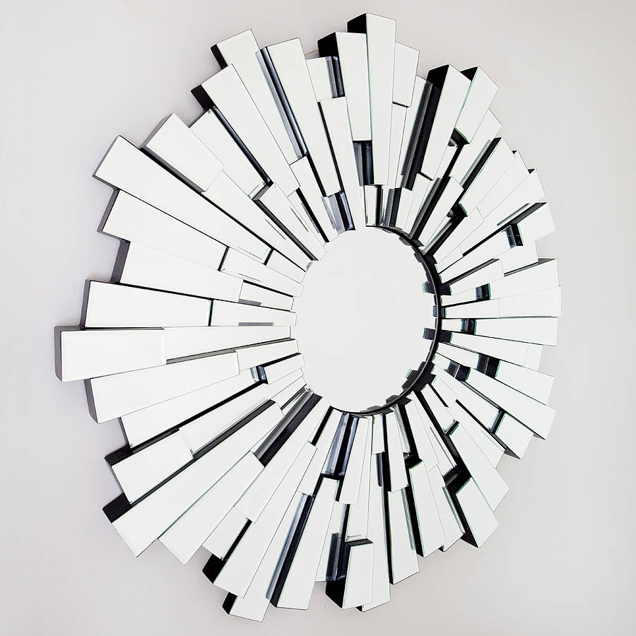 All Glass Round Contemporary Mirror Decorative Mirrors Online For Round Art Deco Mirror (Image 1 of 15)