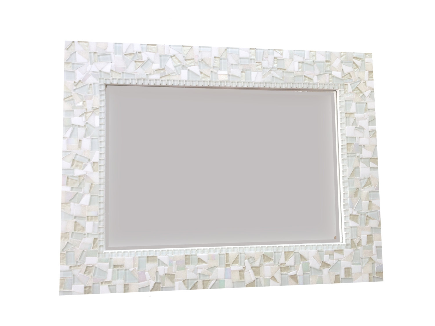 All White Wall Mirror Large Mosaic Mirror Neutral White Home Within Black Mosaic Mirror (Image 1 of 15)
