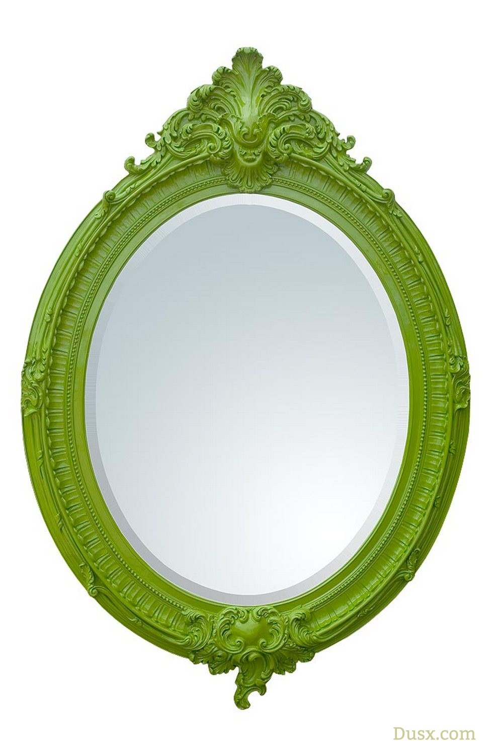 Almandine French Rococo Antique Green Leaf Oval Large Mirror For Inside Oval French Mirror (Image 5 of 15)