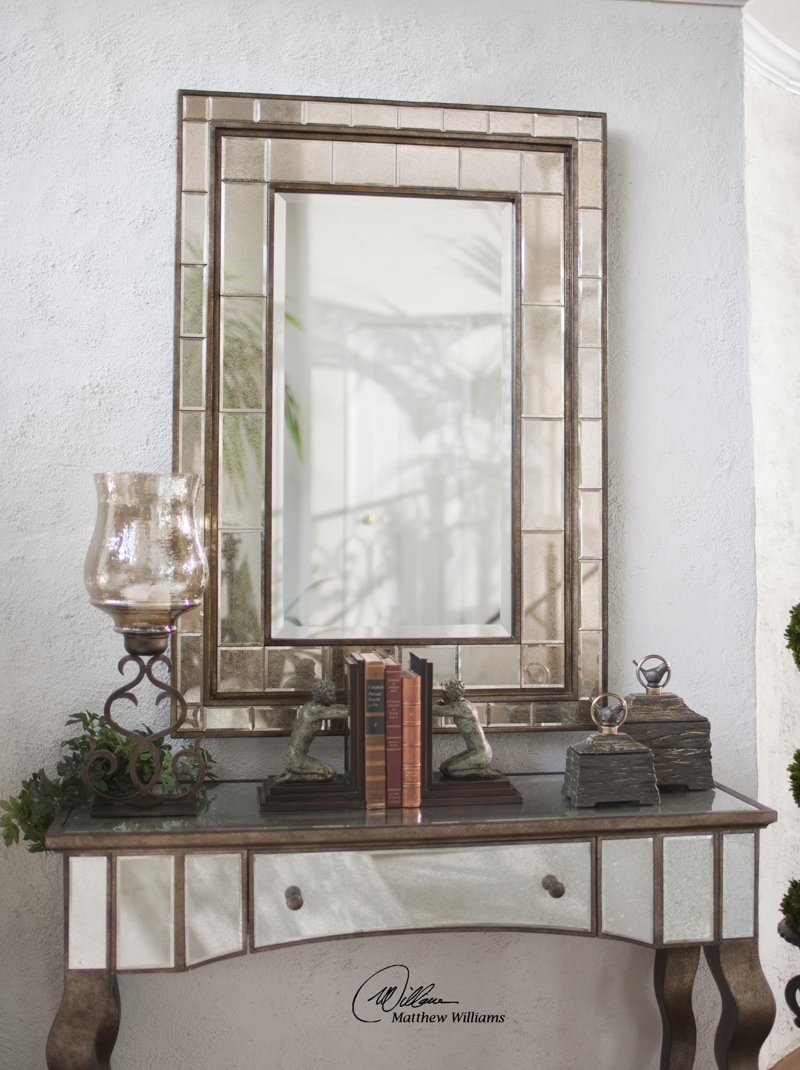 Almont Bronze Mosaic Mirror Hudson Home Decor With Bronze Mosaic Mirror (Image 1 of 15)