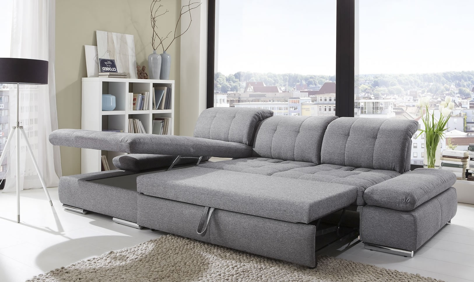 Alpine Sectional Sleeper Sofa Left Arm Chaise Facing Durable Pertaining To Durable Sectional Sofa (Image 5 of 15)