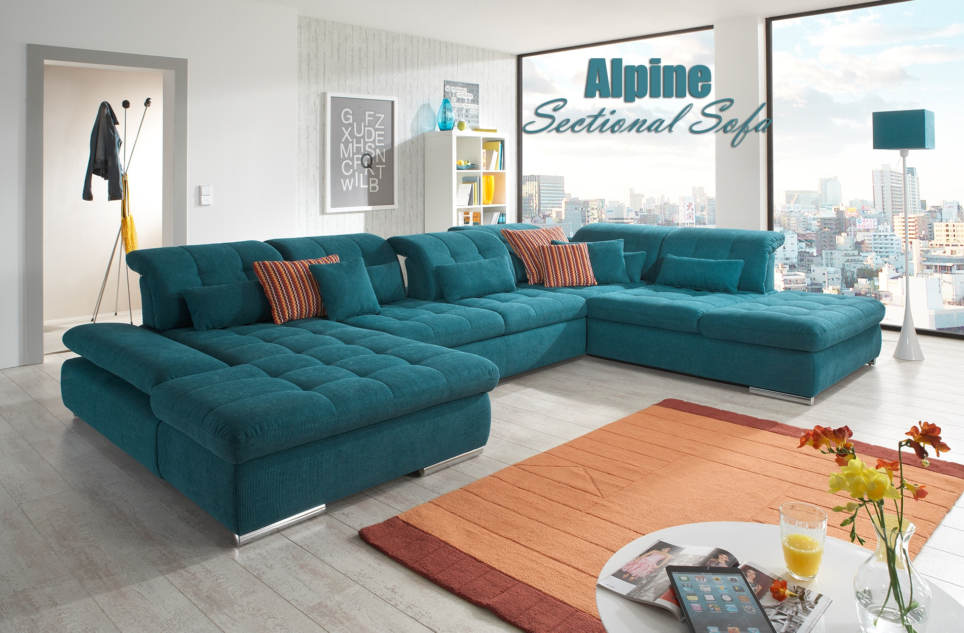 Alpine Sectional Sofa Sleeper With Storage Throughout Colorful Sectional Sofas (View 13 of 15)
