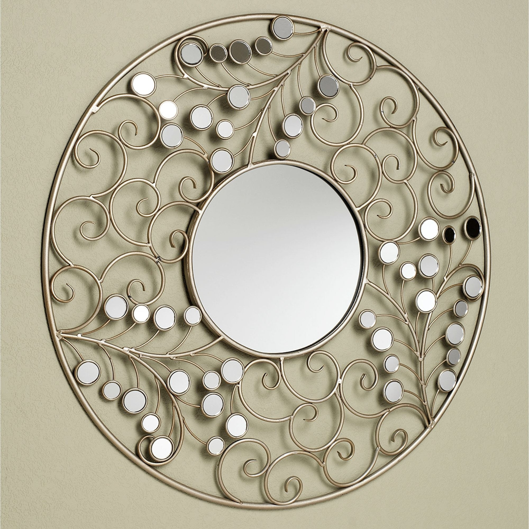 Alyssia Round Metal Wall Mirror Intended For Champagne Wall Mirror (View 10 of 15)