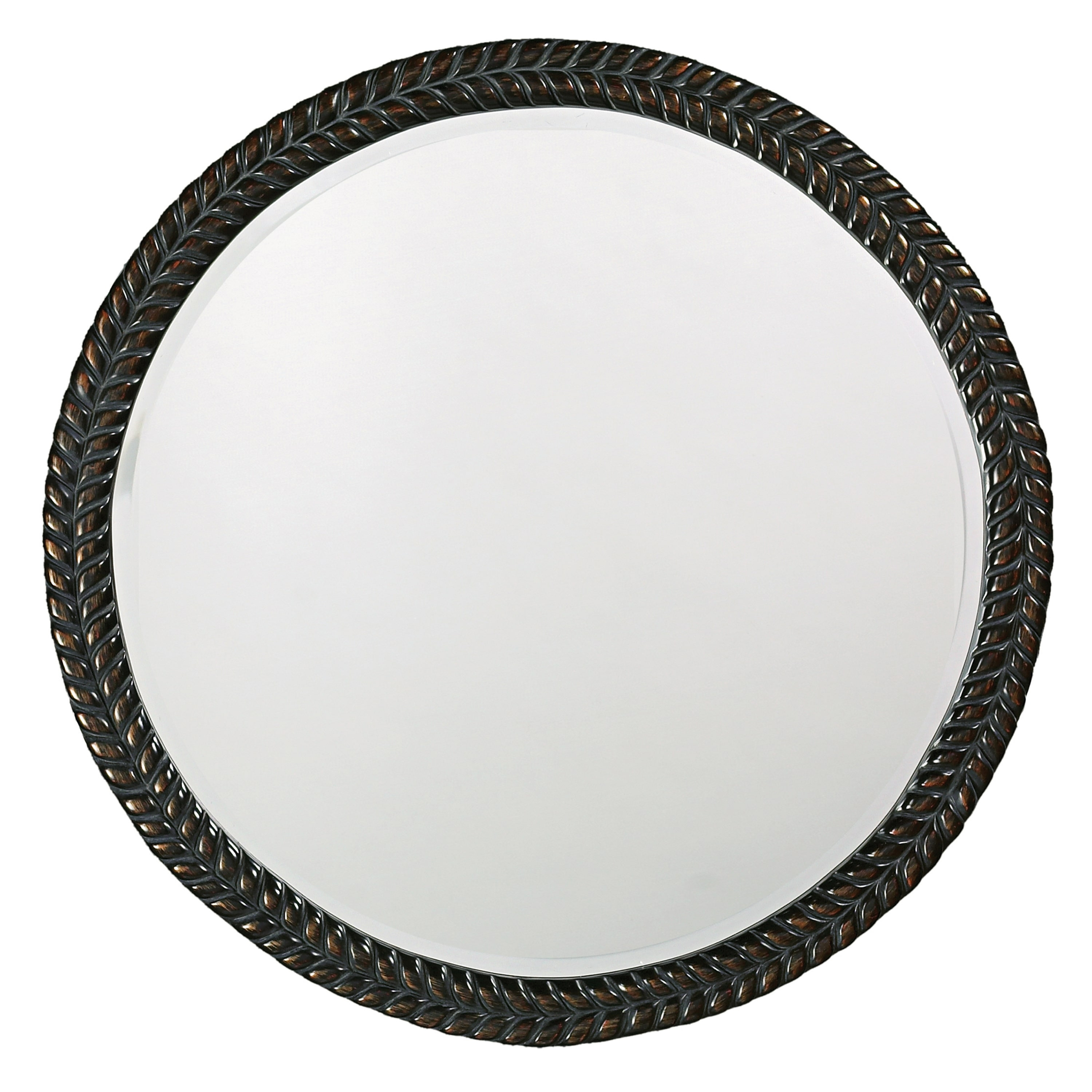 Amalie Black Herringbone Round Mirror Free Shipping Today Intended For Black Round Mirror (Image 4 of 15)