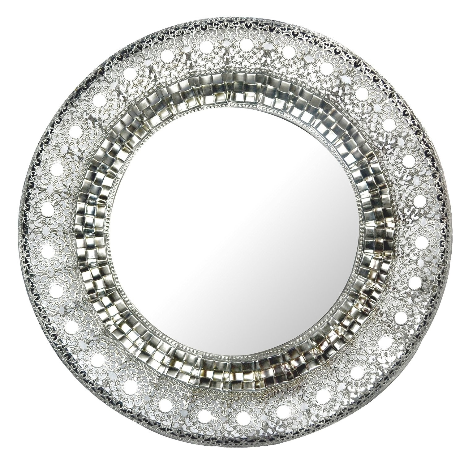 Amazing Silver Round Bathroom Mirrors 67 For With Silver Round With Regard To Silver Round Mirrors (Image 1 of 15)