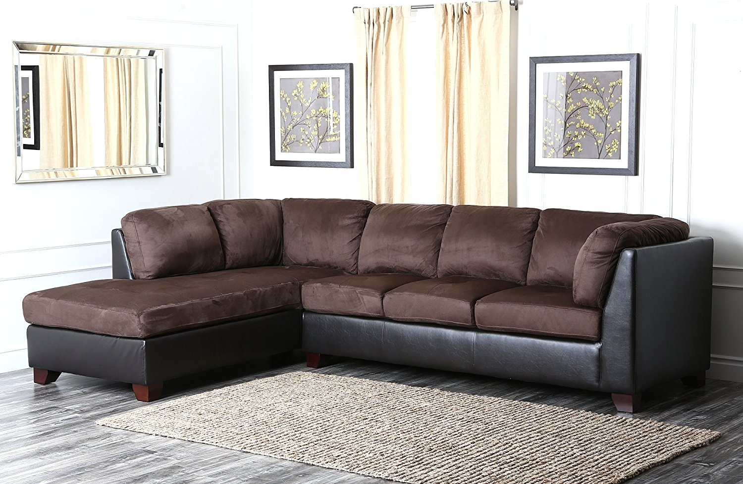 Amazon Abson Santa Maria Sectional Sofaottoman Dark Brown For Abbyson Living Charlotte Beige Sectional Sofa And Ottoman (Image 3 of 15)