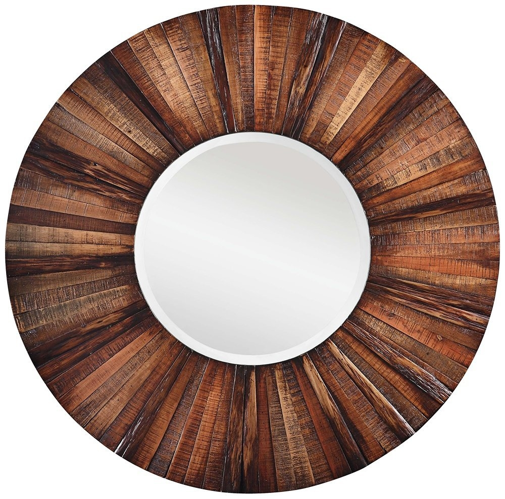 Amazon Cooper Classics 4880 Kona Mirror Wall Mounted In Large Round Wooden Mirror (Image 2 of 15)