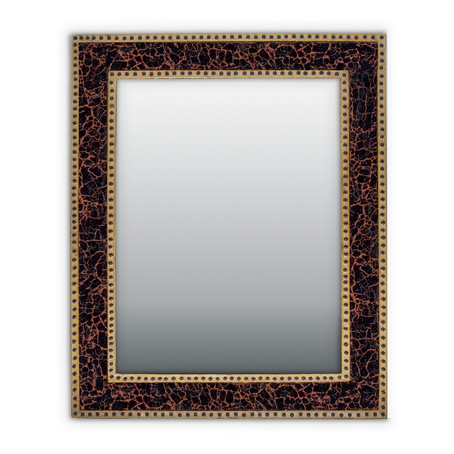Amazon Decorshore Mosaic 30×24 Crackled Glass Decorative Wall Pertaining To Large Ornate Silver Mirror (Image 1 of 15)