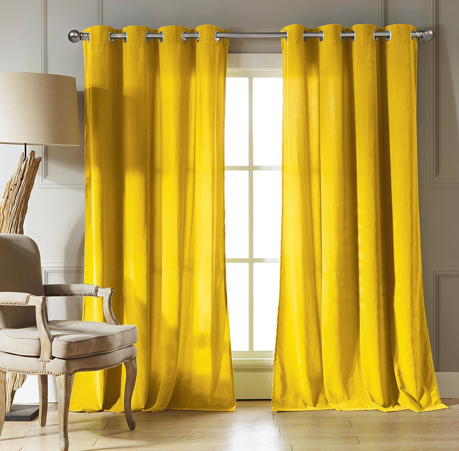 Amazon Duck River Textiles Kensie Home Madison Velvet Within Yellow Velvet Curtains (Image 6 of 15)
