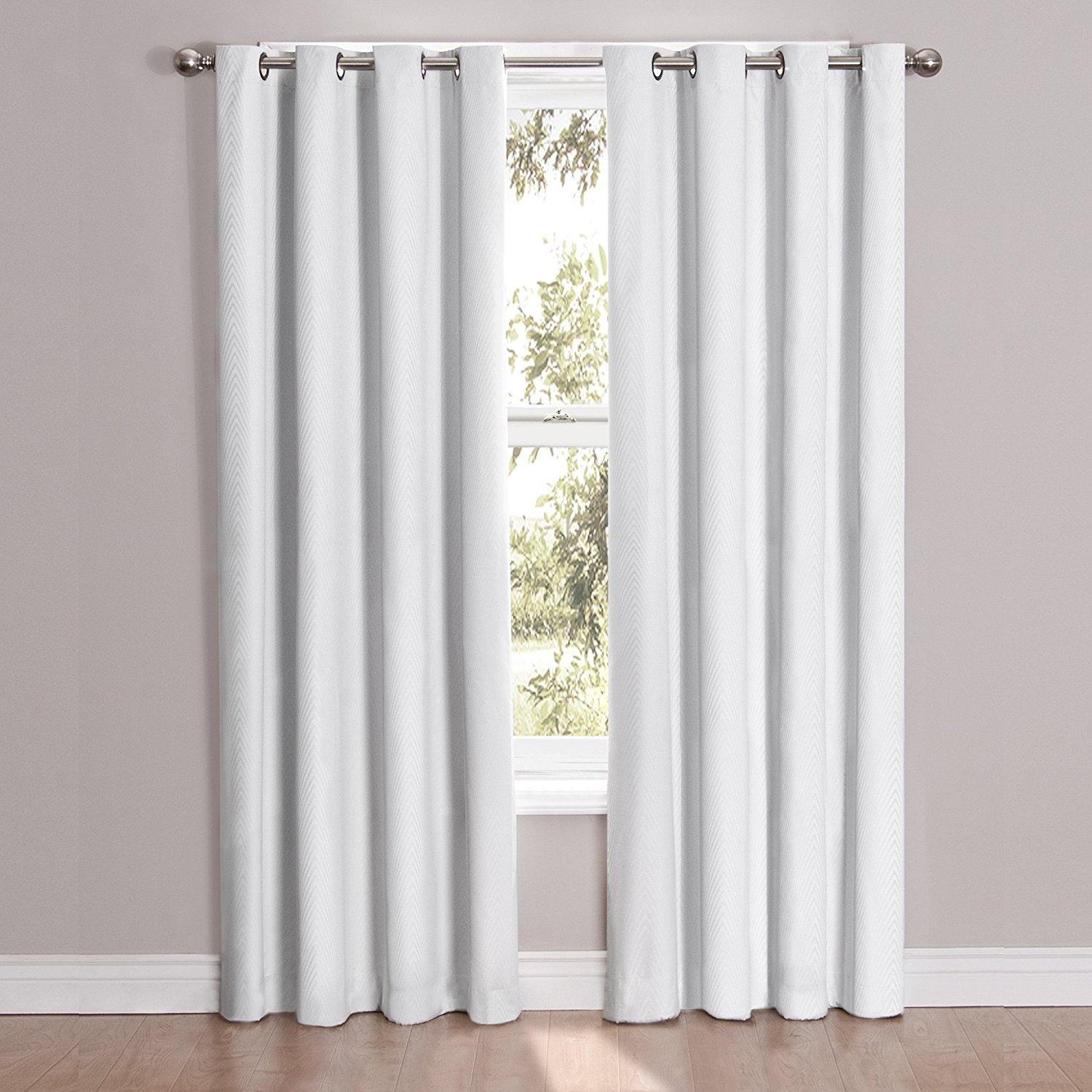 Amazon Eclipse Cassidy Blackout Grommet Window Curtain Panel Pertaining To Plain White Blackout Curtains (Image 2 of 15)