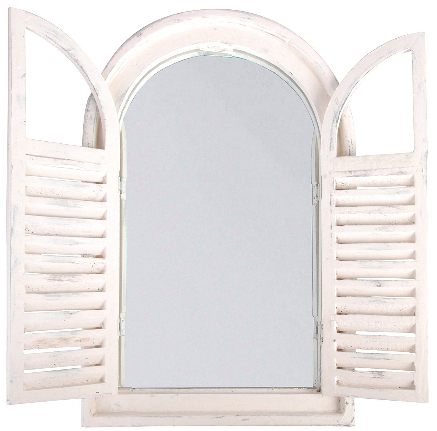 Amazon Esschert Design White Window Frame Wfrench Doors With White Arch Mirror (Image 1 of 15)
