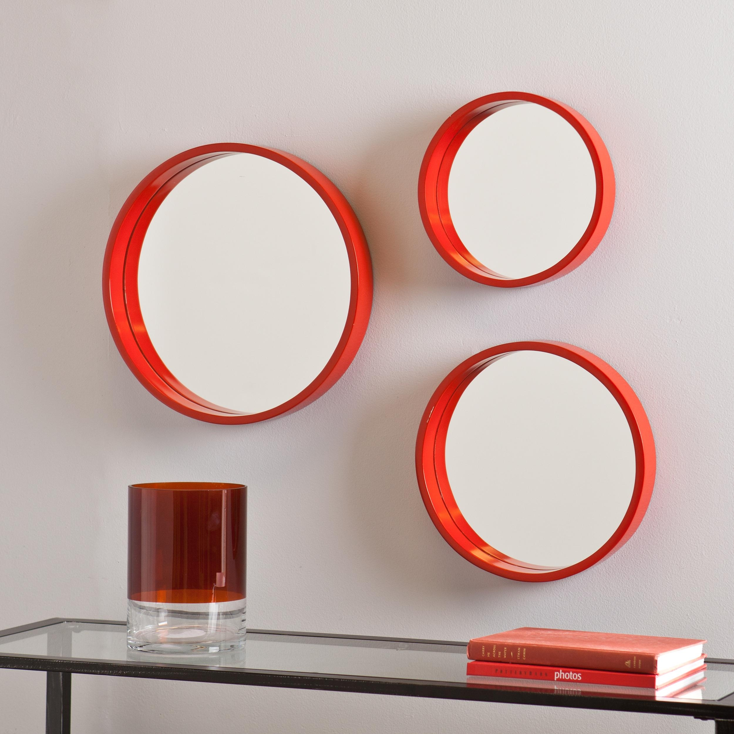 Amazon Holly Martin Daws Wall Mirror 3pc Set Red Orange Throughout Round Porthole Mirror (Image 2 of 15)