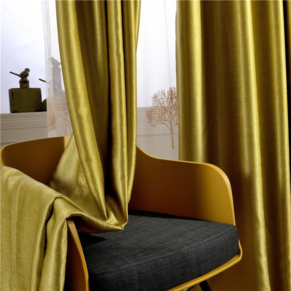 Amazon Leyden Grommet Top Classic Solid Chartreuse Bright In Yellow Velvet Curtains (Image 7 of 15)
