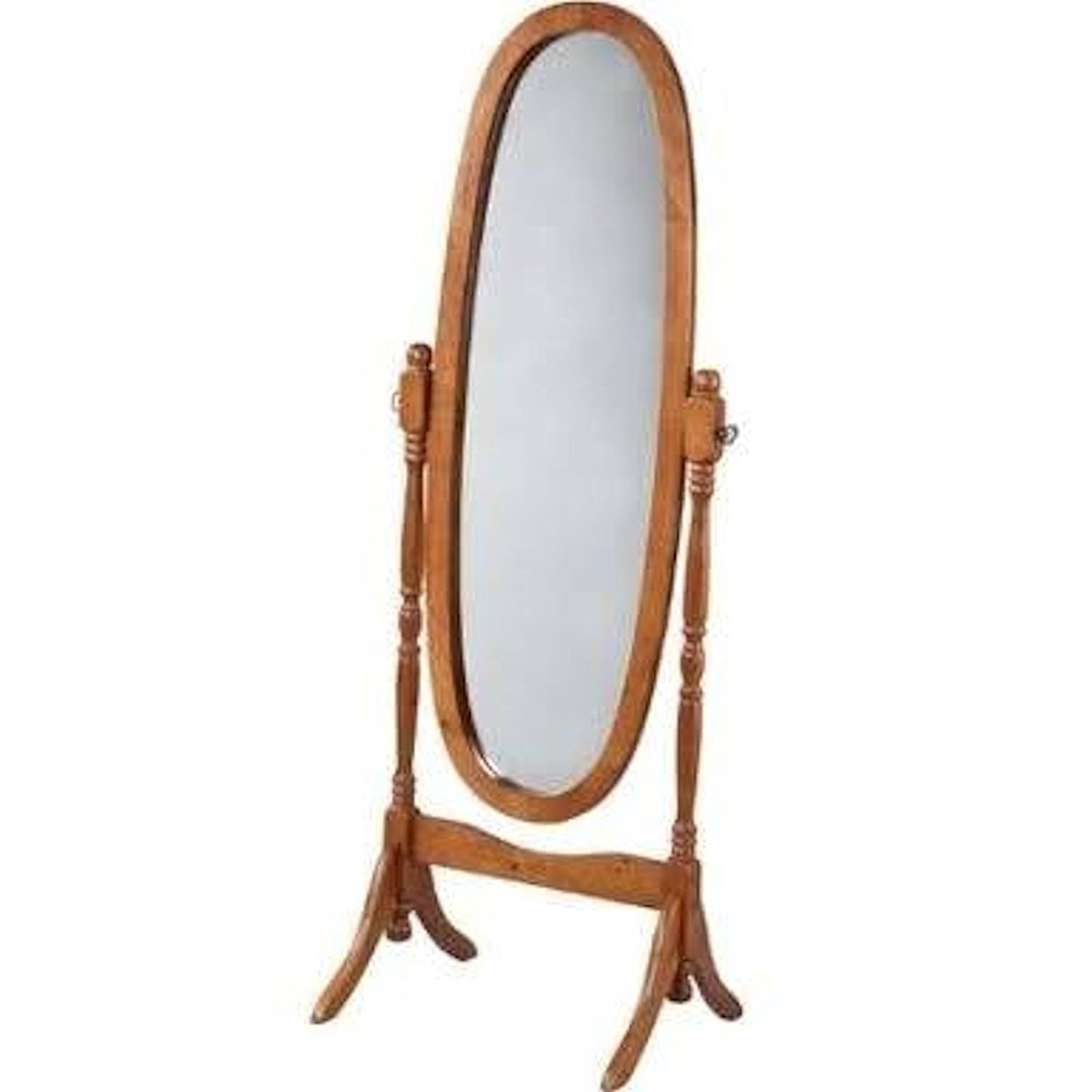 Amazon Swivel Full Length Wood Cheval Oval Floor Mirror Within Long Oval Mirror (Image 1 of 15)
