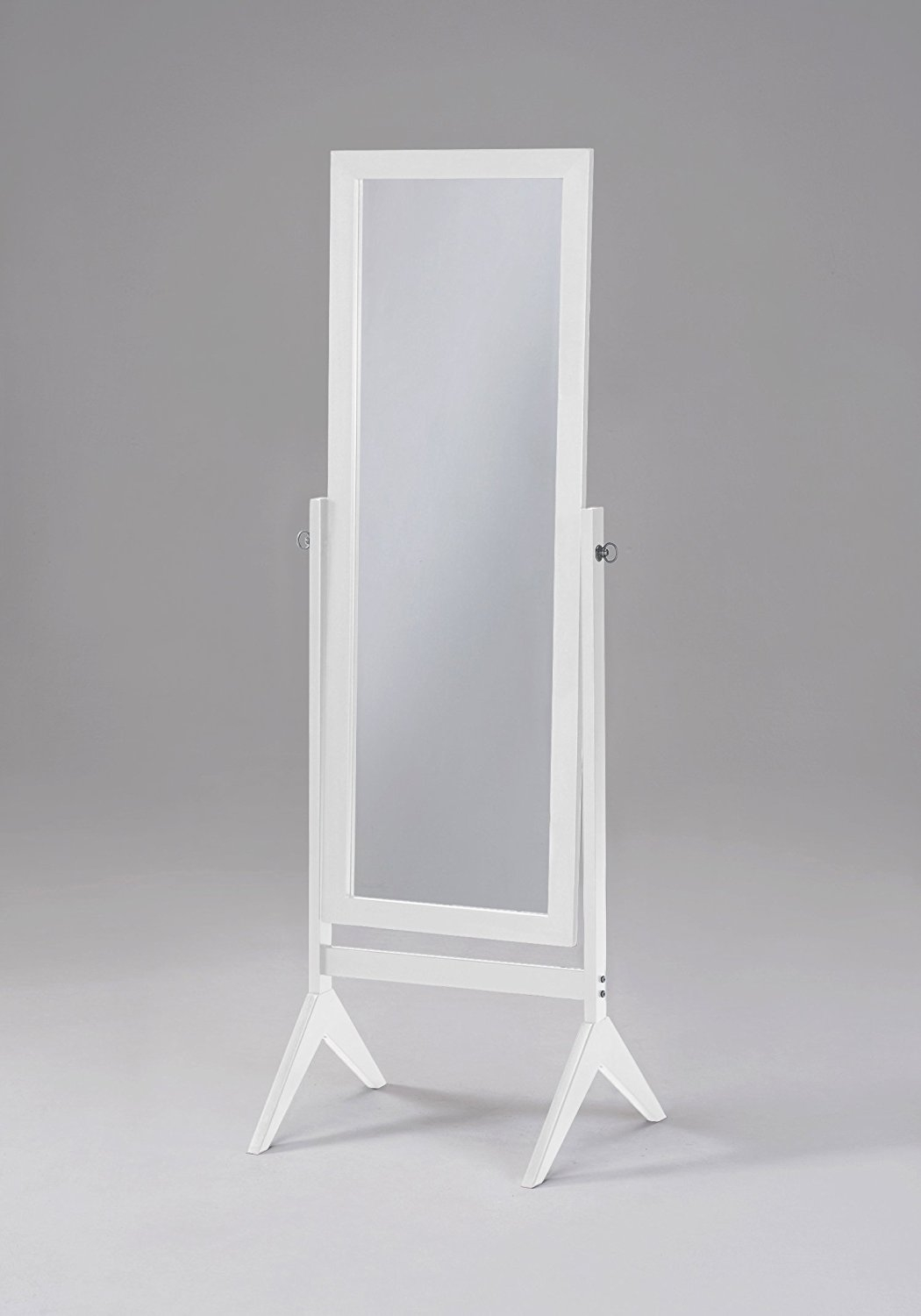 Amazon White Finish Wooden Cheval Bedroom Free Standing Floor Throughout Black Floor Standing Mirror (Image 3 of 15)